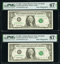 Small Size:Federal Reserve Notes, Radar Serial Numbers 18733781; 18722781 Fr. 1921-D $1 1995 Federal Reserve Notes. PMG Superb Gem Unc 67 EPQ.. ... (Total: 2 notes)