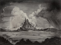 John Coleman Burroughs (American, 1913-1979) Castle in the Beyond Charcoal on board 14 x 19-1/4 inches (35.6 x 48.9 c
