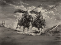 John Coleman Burroughs (American, 1913-1979) Knights on a Journey Charcoal on paper 14-1/8 x 19-1/4 inches (35.9 x 48