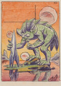 Pulp, Pulp-like, Digests and Paperback Art, Hannes Bok (American, 1914-1964). Creature and Spaceship, pulp cover study, circa 1950. Ink, crayon, and pencil on paper...