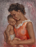 Mainstream Illustration, Leo Jansen (American, 1930-1980). Mother and Child study, 1974. Oil on canvas. 24 x 18 inches (61.0 x 45.7 cm). Signed l...