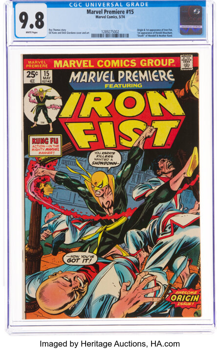 Marvel Premiere #15 Iron Fist (Marvel, 1974) CGC NM/MT 9.8 White pages....