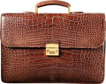 """Luxury Accessories:Bags, Giorgio's of Palm Beach Brown Crocodile Briefcase. Condition: 2. 17"""" Width x 11.5"""" Height x 4"""" Dept..."""