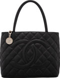 """Luxury Accessories:Bags, Chanel Black Quilted Caviar Leather Medallion Tote with Silver Hardware. Condition: 2. 12"""" Width x ..."""