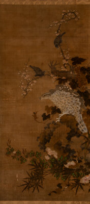 Attributed to Yun Shouping (Chinese, 1633-1690) Hawk in Tree Ink and color on paper 47-1/2 x 22 inches (120.7 x 55.9