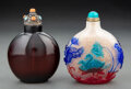 Glass, Two Large Chinese Peking Glass Snuff Bottles. Marks to larger: six-character mark. 4-1/4 x 3-3/8 x 2-1/8 inches (10.8 x 8.6 ... (Total: 2 Items)
