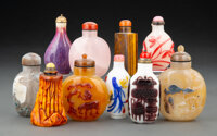 A Group of Ten Chinese Snuff Bottles Marks to one: two-character Fenfang mark 3-1/2 x 2-1/4 x 1-1/4 inches (8.9 x 5.7 x...