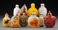 A Group of Ten Chinese Snuff Bottles 3-1/8 x 2-1/4 x 0-3/4 inches (7.9 x 5.7 x 1.9 cm) (largest)  ... (Total: 10 Items)