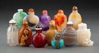 A Group of Twelve Chinese Snuff Bottles 2-1/2 x 1-1/4 x 1-3/4 inches (6.4 x 3.2 x 4.4 cm) (tallest)  ... (Total: 12 Item...