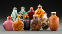 A Group of Ten Chinese Snuff Bottles Marks: four-character Qianlong shangwan mark 3-3/8 x 1-5/8 inches (8.6 x 4
