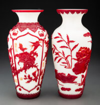 A Near Pair of Peking Glass Vases Marks: four-character Qianlong seal mark 10 x 4-3/4 inches (25.4 x 12.1 cm)  ... (Tota...
