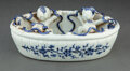 Ceramics & Porcelain, A Chinese Blue and White Four Happiness Boys Brush Washer, Qing Dynasty, 19th century. 3-1/2 x 9 x 5-3/4 inches (8.9 x 22.9 ...