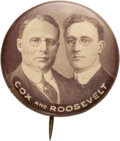 """Political:Pinback Buttons (1896-present), Cox & Roosevelt: The """"Holy Grail"""" Jugate Button for These 1920 Running Mates. ..."""