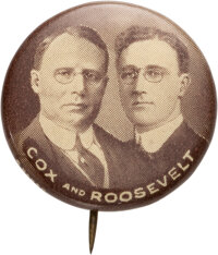 """Cox & Roosevelt: The """"Holy Grail"""" Jugate Button for These 1920 Running Mates"""