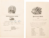 Andrew Jackson and William Henry Harrison: Invitations to Celebratory Balls.... (Total: 2 Items)
