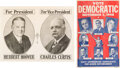 Political:Posters & Broadsides (1896-present), Hoover & Curtis and Truman & Barkley: Pair of Posters.... (Total: 2 Items)
