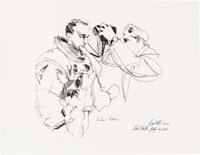 """Apollo 11: Michael Collins and Paul Calle Signed Limited Edition, #31/250, """"Collins Suiting Up"""" Print"""