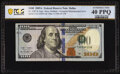 Overprint Misalignment Error Fr. 2187-K $100 2009A Federal Reserve Note. PCGS Extremely Fine 40PPQ