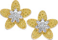 Estate Jewelry:Earrings, Attractive pair of yellow and white diamond flower earclips. Designed as stylized blooming flowers, the petals