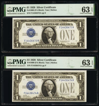 Fr. 1600 $1 1928 Silver Certificates. Two Examples. PMG Choice Uncirculated 63 EPQ. ... (Total: 2 notes)