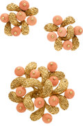 Estate Jewelry:Suites, Van Cleef & Arpels Coral, Gold Jewelry Suite, French