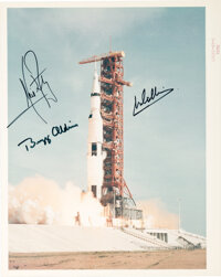 """Apollo 11 Crew-Signed Vintage NASA """"Red Number"""" Launch Color Photo"""