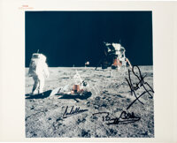 """Apollo 11 Crew-Signed Vintage NASA """"Red Number"""" Buzz Aldrin on Lunar Surface Color Photo"""