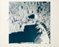 """Apollo 11 Crew-Signed Vintage NASA """"Red Number"""" Lunar Bootprint Color Photo"""