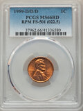 Lincoln Cents, 1959-D/D/D 1C Repunched Mintmark, FS-501 MS66 Red PCGS. PCGS Population: (25/0). NGC Census: (11/1). MS66. Mintage 1,279,76...