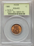 Lincoln Cents, 1909 1C MS64 Red PCGS. PCGS Population: (718/1877). NGC Census: (155/622). CDN: $45 Whsle. Bid for NGC/PCGS MS64. Mintage 7...