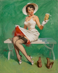 Gil Elvgren (American, 1914-1980) Squirrely Situation, calendar illustration, 1969 Oil on