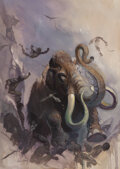 Pulp, Pulp-like, Digests and Paperback Art, Ken Kelly (American, b. 1946). The Ice Mammoth Cometh study, 1991. Oil on board. 46 x 33 inches (116.8 x 83.8 cm). Signe...