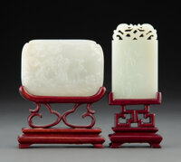 Two Chinese Carved Jade Plaques on Fitted Wood Stands 2 x 3 inches (5.1 x 7.6 cm) (largest, plaque)  ... (Total: 2 Items...