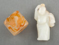 Carvings, Two Chinese Carved Jade Articles. 1-3/8 x 1-1/8 inches (3.5 x 2.9 cm) (larger, ring). ... (Total: 2 Items)