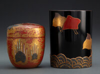 Two Japanese Lacquer Pieces (Pot and Box with Cover) 3-1/2 x 3 inches (8.9 x 7.6 cm)  ... (Total: 2 Items)