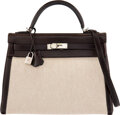 Luxury Accessories:Bags, Hermès 32cm Chocolate Swift Leather & Toile Retourne Kelly Bag with Palladium Hardware. G Square, 2003