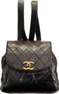 """Luxury Accessories:Bags, Chanel Vintage Black Quilted Calfskin Leather Backpack with Gold Hardware. Condition: 3. 9"""" Width x..."""