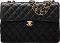 """Luxury Accessories:Bags, Chanel Black Quilted Lambskin Leather Jumbo Flap Bag with Gold Hardware. Condition: 4. 12"""" Width x ..."""