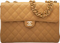 """Luxury Accessories:Bags, Chanel Vintage Beige Quilted Caviar Leather Jumbo Flap Bag with Gold Hardware. Condition: 2. 12"""" Wi..."""