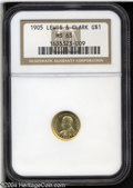 Commemorative Gold: , 1905 G$1 Lewis and Clark MS63 NGC. Pleasing color and ...