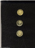 California Fractional Gold: , Undated 25C Liberty Round 25 Cents, BG-222, R.2, MS60 ... (3pieces)