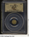 California Fractional Gold: , 1854 50C Liberty Octagonal 50 Cents, BG-308, R.4, MS63 PCGS....