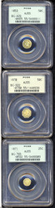 California Fractional Gold: , 1853 50C Liberty Round 50 Cents, BG-429, Low R.4, AU55 PCGS,... (3Coins)