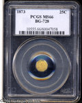California Fractional Gold: , 1873 25C Liberty Octagonal 25 Cents, BG-728, R.3, MS66 PCGS....