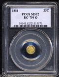 California Fractional Gold: , 1881 25C Indian Octagonal 25 Cents, BG-799O, Low R.4, MS62 ...
