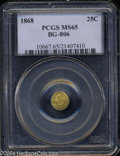 California Fractional Gold: , 1868 25C Liberty Round 25 Cents, BG-806, R.3, MS65 PCGS. ...
