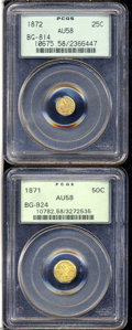 California Fractional Gold: , 1872 25C Liberty Round 25 Cents, BG-814, High R.5, AU58 ... (2Coins)