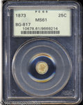 California Fractional Gold: , 1873 25C Liberty Round 25 Cents, BG-817, R.3, MS61 PCGS. ...