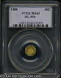 California Fractional Gold: , 1880 50C Indian Octagonal 50 Cents, BG-954, Low R.4, MS63 ...