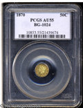 California Fractional Gold: , 1870 50C Liberty Round 50 Cents, BG-1024, Low R.4, AU55 ...